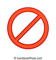 Red sign ban icon, cartoon style - Red sign ban icon in...