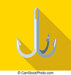Hook for fishing icon, flat style