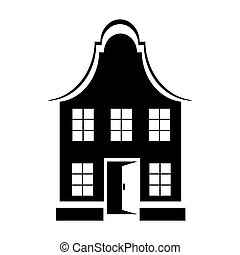 Two-storey house icon, simple style - Two-storey house icon...
