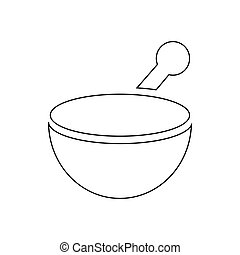 Mortar and pestle pharmacy icon, outline style - Mortar and...