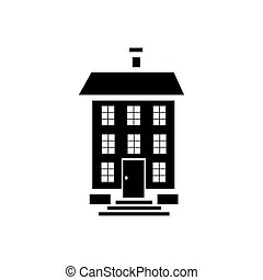 Three storey house icon, simple style - Three storey house...