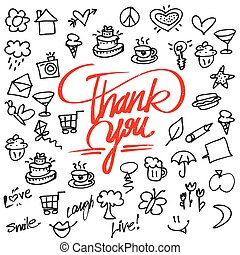 Thank you letter Typo and Icons, Hand drawn Vector...