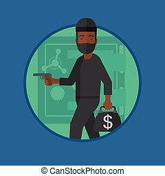 Burglar with gun near safe vector illustration.
