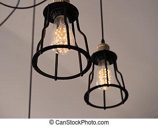 Style, ou,  restaurant, vendange,  concept, moderne, créatif, lampe, conception, lumière, intérieur, maison,  décor, ampoule, mis cage