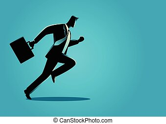Businessman running with briefcase - Silhouette illustration...
