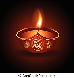 Graphic illustration of burning diya of Diwali celebration -...