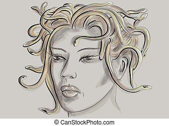 medusa gorgon portrait on grey background