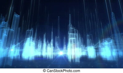 Future collection fly city space abstract infographics wireframe buildings background