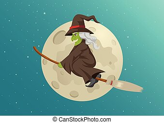 Cartoon of a witch flying with her broom during full moon