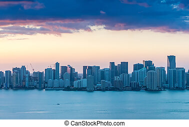 Sunset over Miami Downtown. Beautiful aerial view of Florida