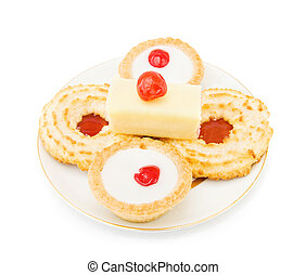 Biscuits and cake with cherry - Coconut and jam biscuits...