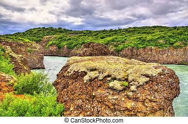 Bruarhlod Canyon of the Hvita river in Iceland - Bruarhlod...