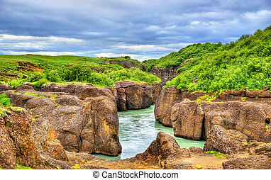Bruarhlod Canyon of the Hvita river in Iceland - Bruarhlod...