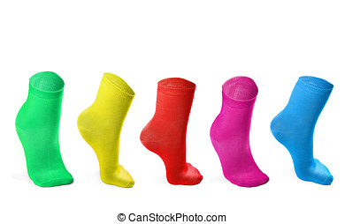 colored socks imitating steps isolated on white