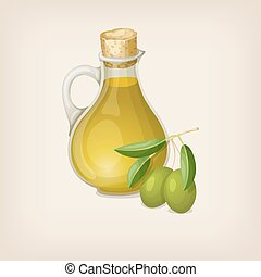 Vector bottle of olive oil with olives. Vector illustration.
