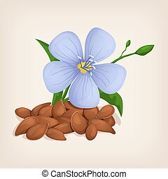 Brown flax seeds with flowers and leaves Vector illustration...