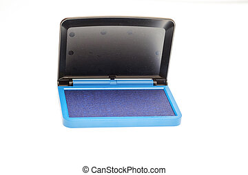 Opened blue ink pad isolated