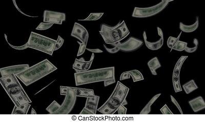 Dollar bills falling on black