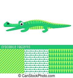 Cartoon crocodile vector illustration. Green kid alligator...