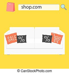 Online shop sale banner with white sofa and pillows.