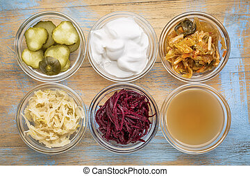 fermented food collection - a set of fermented food great...