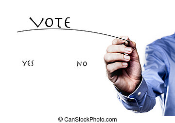 The Vote Yes - Picture of hand holding a pencil isolated on...