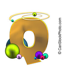 Alphabet Glowing Planets Q - The letter Q, in the alphabet...