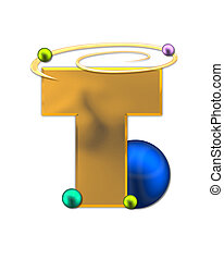 Alphabet Glowing Planets T - The letter T, in the alphabet...