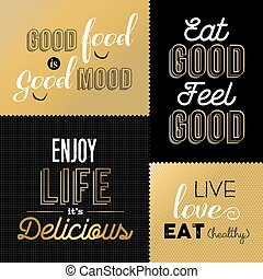 Retro style food quotes set in gold color