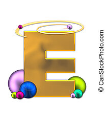 Alphabet Glowing Planets E - The letter E, in the alphabet...