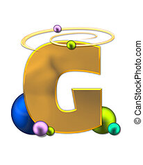 Alphabet Glowing Planets G - The letter G, in the alphabet...