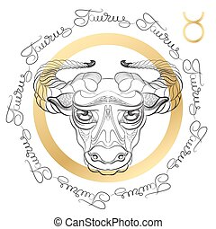 Zodiac sign Taurus. Horoscope card in zentangle style with...