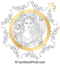 Zodiac sign Virgo. Horoscope card in zentangle style with...