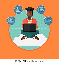 Graduate sitting on cloud vector illustration.