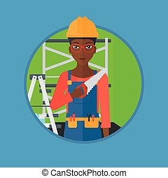 Smiling worker with saw vector illustration. - An...
