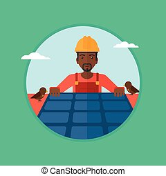 Constructor installing solar panels. - An african-american...
