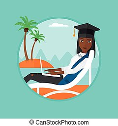 Graduate lying in chaise lounge with laptop. - An...