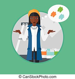 Woman choosing paint color vector illustration - An...