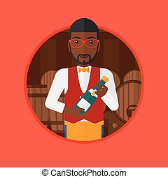 Waiter holding bottle in wine cellar. - An african-american...