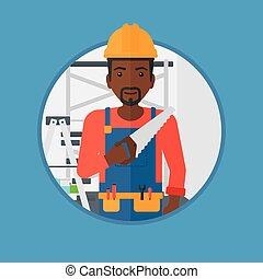 Smiling worker with saw vector illustration - An...