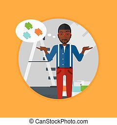 Man choosing paint color vector illustration - An...