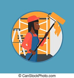 Painter with paint roller vector illustration. - An...