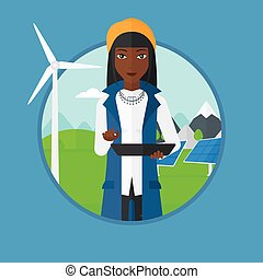 Female worker of solar power plant and wind farm - An...