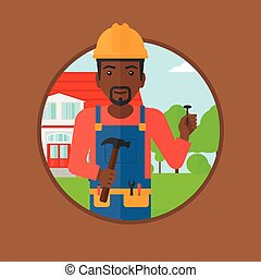 Cheerful builder with hammer vector illustration. - An...