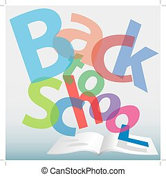 BACK TO SCHOOL words text book pages - Colorful BACK TO...