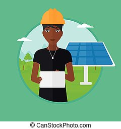 Female worker of solar power plant. - African-american...