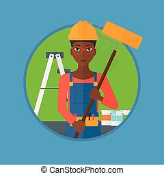 Painter with paint roller vector illustration - An...