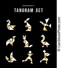 Classic tangram game icon set in gold color