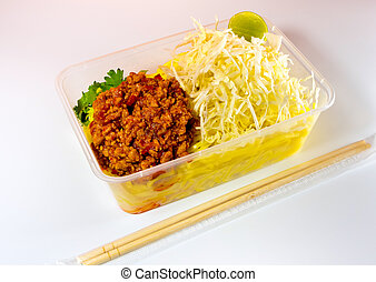 Spaghetti with sauce / Take home food in plastic packaging