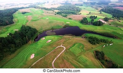 aerial view of golf fields